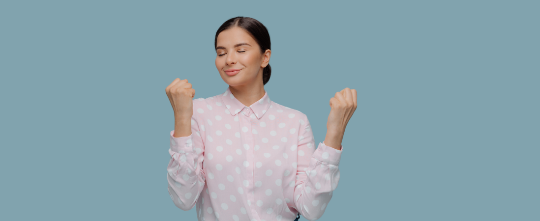 female happy while building personal brand